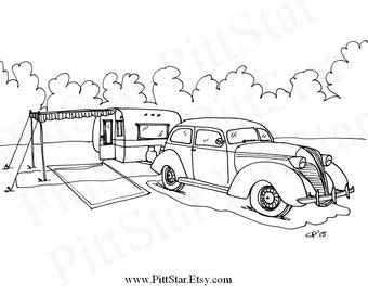 free happy camper coloring pages   Instant Download Happy Glamper Winnebago Motorhome by PittStar