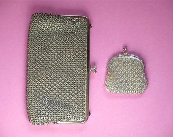 RESERVED / Vintage bag silver sequins