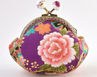 Hand crafted gold embossed Japanese coin purse with kiss lock frame and picture beads #0030