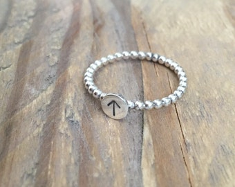 Sterling Silver Hand Stamped initial stacking ring