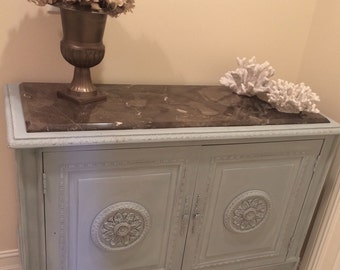 Vintage French Buffet Server Cabinet Dresser. French Blue, Marble Top