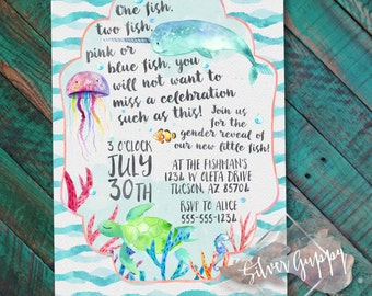 Watercolor Fish themed Invitation