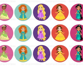 PRINCESS 2 1 Inch Circles Bottle Cap Images ~ Instant Download ~ Girl Power ~ Princesses Birthday Printable Image Sheet PR-258