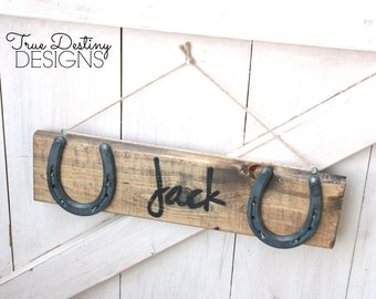 Personalized Wood Horseshoe Sign - Stable Stall Signs - Horse Name Sign - Font A, rustic, barn wood, cabin, country, True Destiny, TDD16