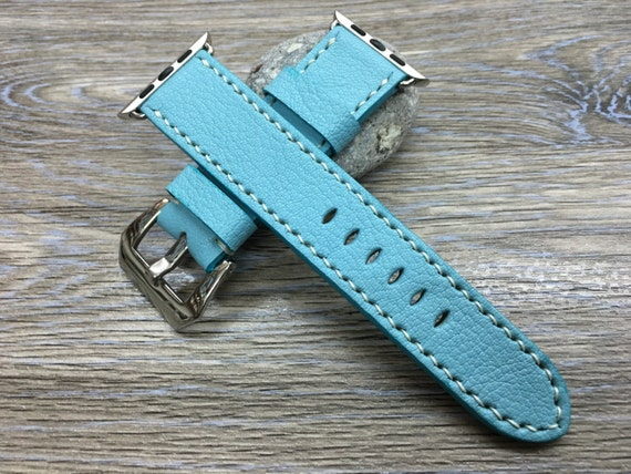 Apple Watch Band | Apple Watch Strap | Leather Watch Band | Leather Watch Strap | Pale Blue Colour Leather For Apple Watch 38mm & 42mm