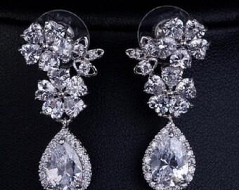 Flower Bridal Tear Drop Earrings / Wedding Jewelry / Party Jewelry