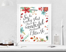 Bible Verse Printable, Scripture Art, Wedding Scripture Art Floral Christian wall decor  1 Peter 1:6 INSTANT DOWNLOAD