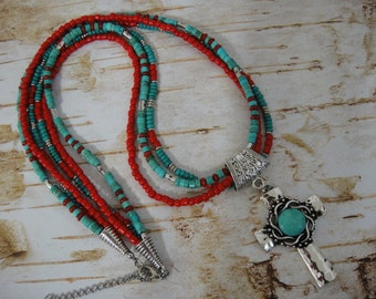 Southwest Necklace - Western Necklace - Boho Necklace - Triple Chain Necklace - Cross Necklace - Turquoise Necklace , 26 Inch