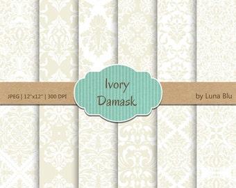 "Ivory Digital Paper: ""Ivory Damask Patterns"" subtle patterns, champagne, wheat, cream, neutral damasks for cardmaking, scrapbooking, crafts"