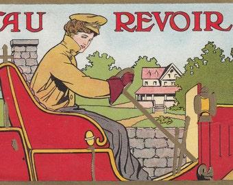 """Gold Detail/Classy Art Nouveau Woman Driving On Her Way,""""Au Revoir"""" Postcard"""