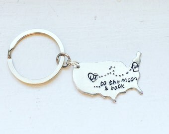 Handstamped Keychains - Personalized Keychain - Long Distance Keychain - I miss you Keychain - Mothers Day Keychain - Long Distance Family