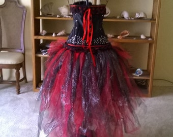 Black and red rhinestoned corset w/sparkly red & black tulle bustle, burlesque corset, 6XL plus size, costume