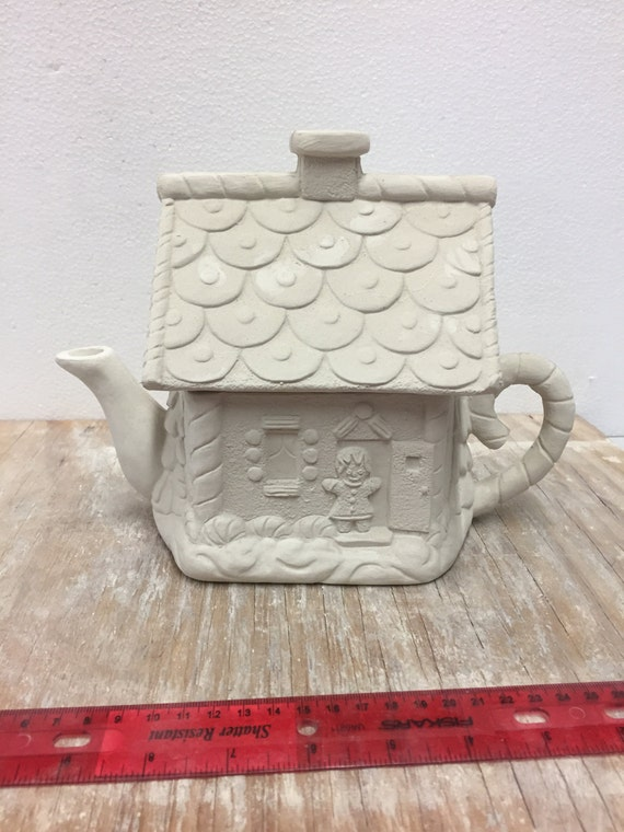 Ceramic bisque gingerbread house teapot ready to paint for Bisque ceramic craft stores