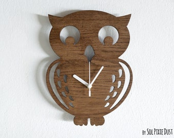 Owl Kids Cartoon Silhouette - Wooden Wall Clock
