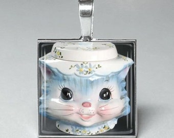 Vintage style Miss Priss cat cats glass tile pendant jewelry