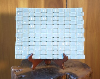 Light Blue Woven Studio Art Glass Tray