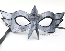 Masked Ball, Mardi Gras Mask, Silver and Black, Bird Mask, Leather Costume, Fantasy Mask, Real Leather