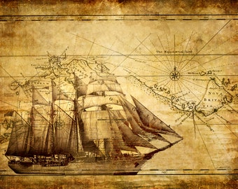 World Map Wall Art with Ship  Vintage map of the world wall art - canvas or wood sign - decoration for any room
