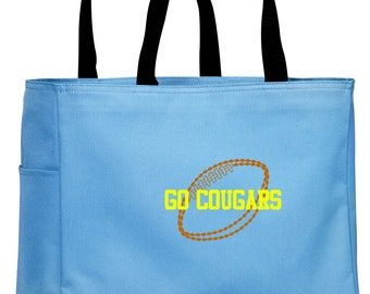 Personalized Tote Bag Embroidered Tote Bag Custom Tote Bag - Sports - Football - B0750