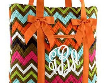 """Personalized Quilted Chevron Print Tote with Bows - Personalized Large 12"""" Multicolor Tote Bag with Orange Handles and Bows - MGR550-OR"""