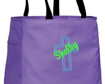 Personalized Tote Bag Embroidered Tote Bag Custom Tote Bag - Sports - Cross - B0750