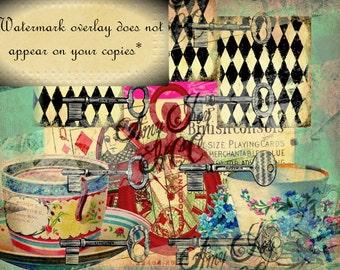 Alice in Wonderland  Tags &  Journal Cover - Digital Collage  Junk Journal Kit - Digital Vintage Tags  Lewis Carroll Tenniel  Ephemera