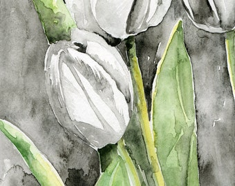 white tulips, watercolor painting, art print, wall art, cottage decor, 5 x 7 inch print, black and white decor, floral painting, flowers