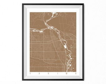 Yakima Map Art Print / Yakima City Poster / Yakima Wall Art / Washington/ Gift / Washington home decor