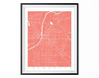 LAFAYETTE Map Art Print / Lafayette City Poster / Lafayette Wall Art / Indiana/ Gift / Indiana home decor