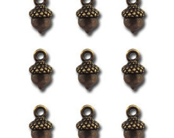 Set of 9 Tiny Acorn Charms, 1/2 inch tall, Antique Brass, by Maya Road for Jewelry, Scrapbooks, etc