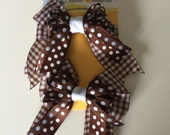 Brown gingham bow set