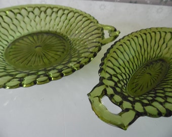 2 Green Honeycomb Glass Dishes, Green Indiana Glass Dishes, Avocado Green Serving Dishes, Olive Green Glass Candy Dishes