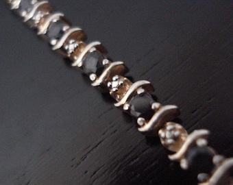 Endless Black Onyx Gemstone 925 Sterling Silver Bracelet Vintage