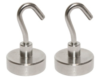 2 Pack - 25lb (12 kg) N48 Magnetic Hooks, Strong Neodymium Rare Earth Magnetic Hooks, Heavy Duty Magnet Hook, Utility Hooks (25 Pound)