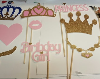 Pink and gold princess theme photo booth props/ Princess photo booth props