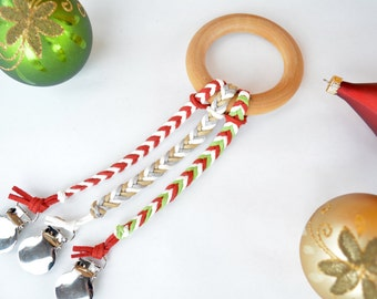 Holiday Collection: Leather Braided Binky Clip -Pacifier Clip-Boy-Girl-Gender Neutral-White-Red-Green-Gold-Silver-Chevron-Christmas