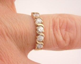 0.75 Carat T.W. Ladies Round Cut Diamond Band 10K Yellow Gold Ring