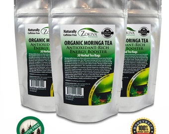 Moringa Tea 3-Pack 90 Bags 100% Pure Organic Great For Energy, Nutrition