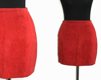 Red Suede Mini Skirt / 90s Mini Skirt S /Red Leather Skirt Small / High Waisted Skirt