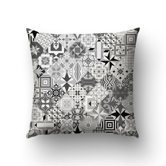 Mosaic Pillow, Ceramic Tiles Throw Pillows, Black And White, Modernist Decor, Home Gifts, Modern Pillow Cover, Geometric Decoration