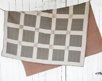 Modern twin bed quilt / lap or throw quilt