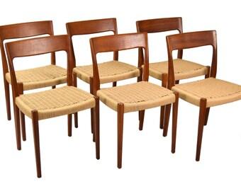 Set of 6 Niels Moller Vintage Mid-Century Danish Modern Teak Dining Chairs