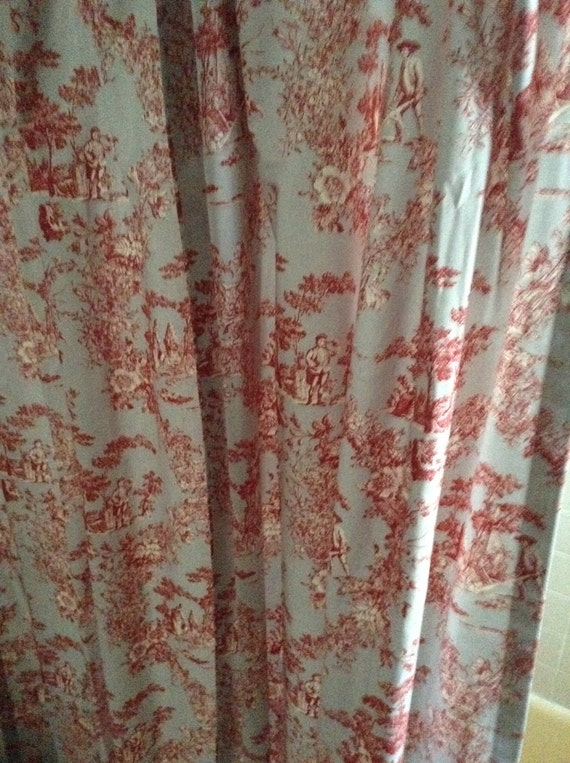 Custom Made Red And Gray French Toile Shower Curtain