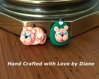 2 Orange Tabby Cat Pendant Pendants Charm Charms Hand Crafted Polymer Clay