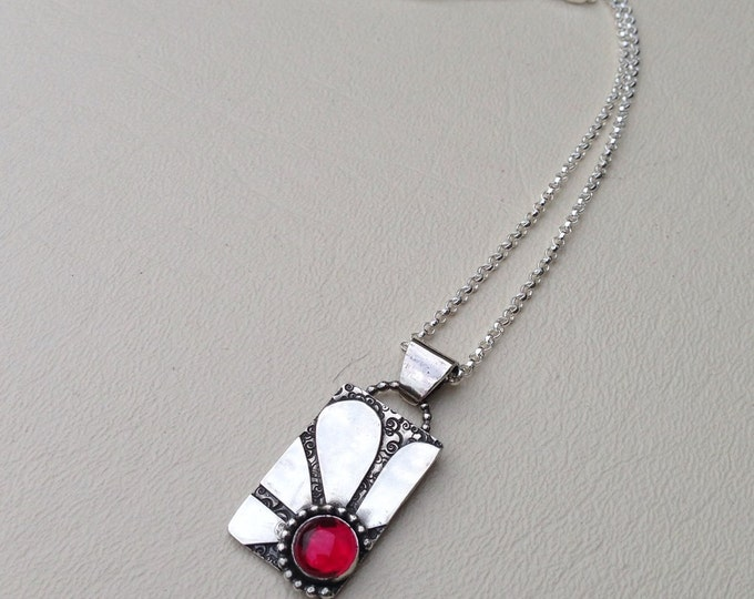 "Flower pendant handmade with sterling silver and lab grown ruby 18"" silver chain"