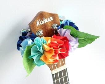 ribbon lei for ukulele (rainbow B) / ukulele accessories / ukulele decor / mandolin /hawaiian lei /satin ribbon / monstera / hibiscus