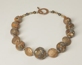 Hand-made Bronze and Clay Necklace