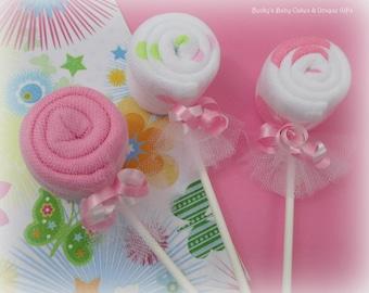 6 CT. Washcloth Lollipop, Baby Washcloth, Baby Shower Decoration, Baby Shower Favors, Decorations, Baby Washcloths, Baby Shower, Favors