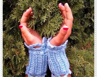 Crocheted Wrist Warmers, Wrist Warmers, Crochet gloves, blue Shadow Gloves, Gloves blue Arm Warmers, blue Arm Warmers