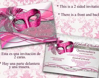 Quinceanera, Quinceanera invitations, Pink and silver Quinceanera, pink Quinceanera invitations, Invitaciones para quinceañeras